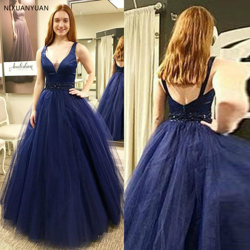 Sexy V Neck   Evening     Dress   Long Spaghetti Strap Top Satin Below Tulle Sleeveless   Evening   Gowns Party Gowns Robe De Soiree