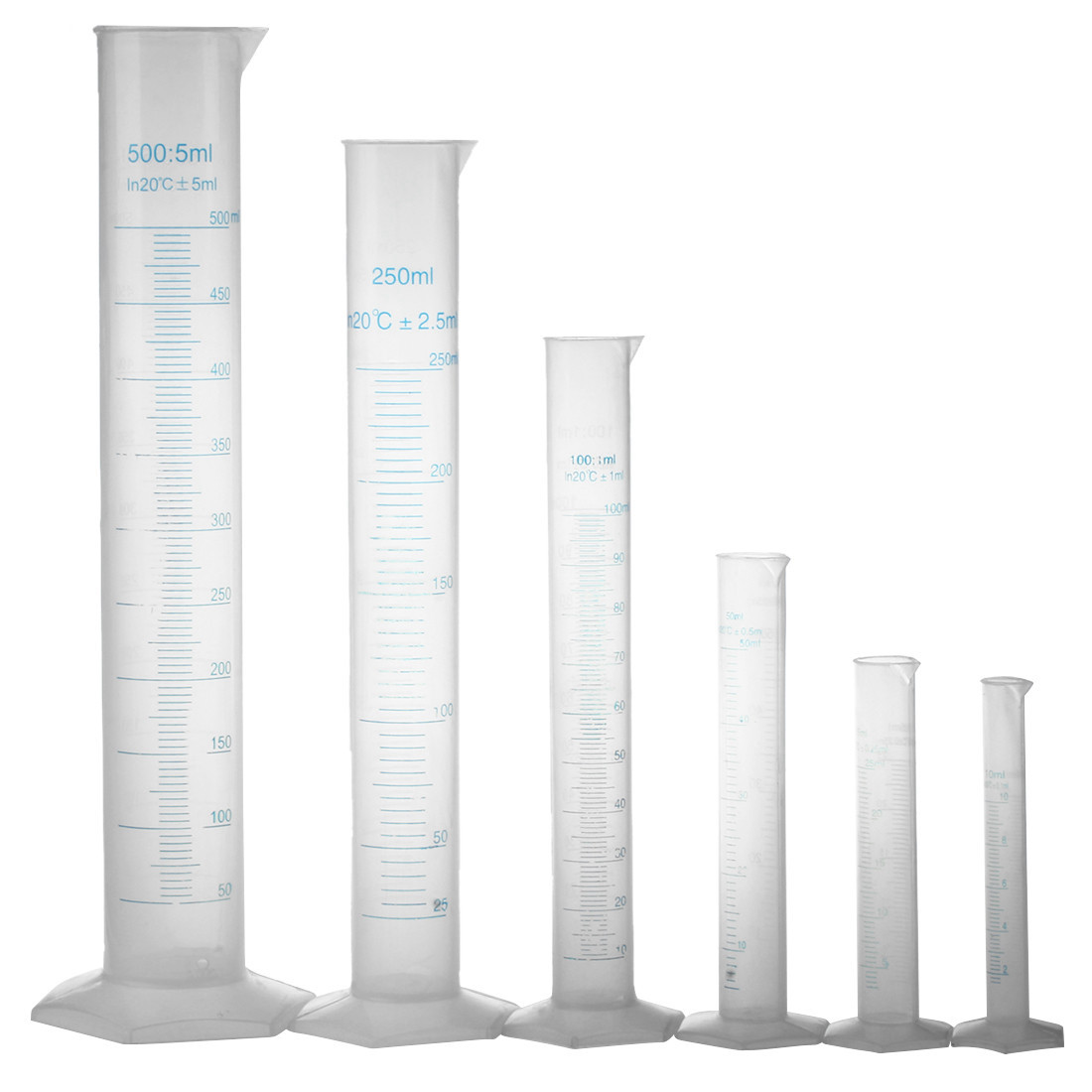 10 25 <font><b>50</b></font> 100 <font><b>250</b></font> 500ml graduated cylinder to measure students Laboratory DIY 6 pcs image