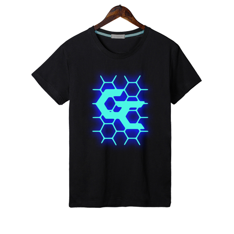 Guilty Crown T Shirt Glow Fashion Mens Black Color Guilty Crown Logo Noctilucent T Shirt Top Tees tshirt Night Glow T-shirt image