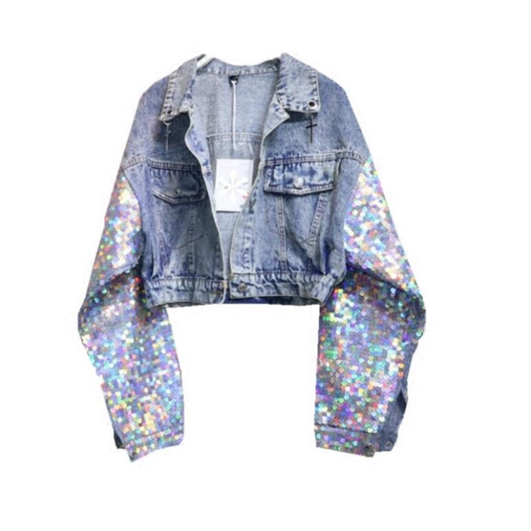various styles many styles latest discount Fashion Sequin Denim Jacket New Autumn Bling Sequins Long Sleeves ...