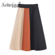 9aef614a0b7 SETWIGG automne couleur bloc Patchwork a-ligne tricoté jupes taille  élastique verticale large rayé tricot Midi printemps jupes
