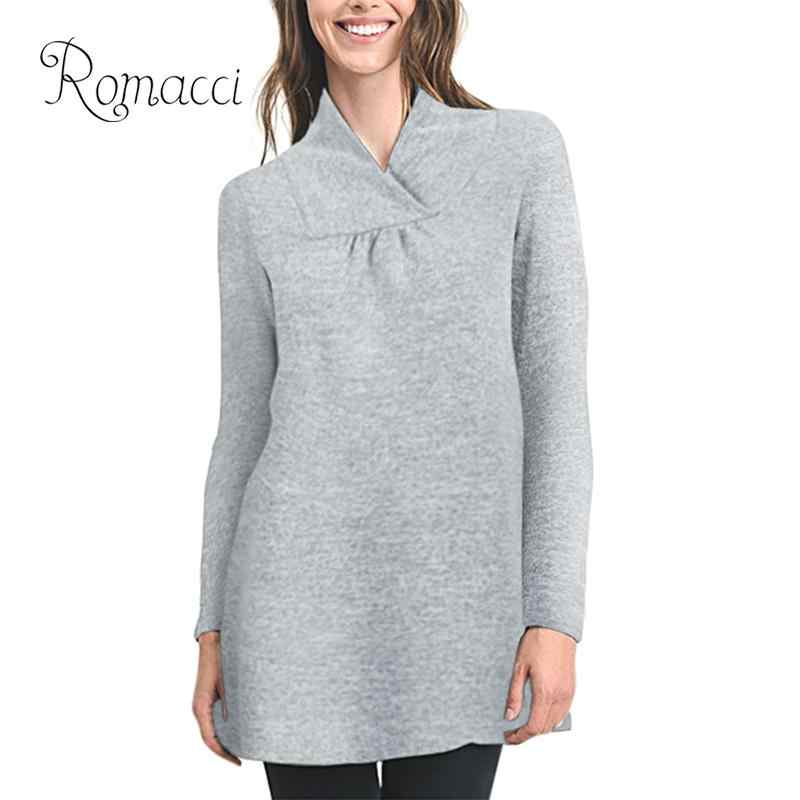 362788f1bf86f Romacci New Fashion Women Autumn Long Sweater Knitting Top Draped Front  A-Line Pregnant Pullovers
