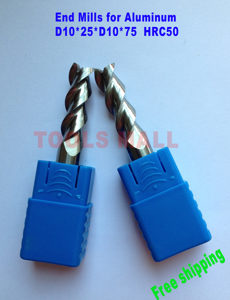 Free shipping - 2pcs 10mm 3 Flutes Aluminium Milling Tools Carbide CNC Endmill Router bits hrc50 D10*25*D10*75