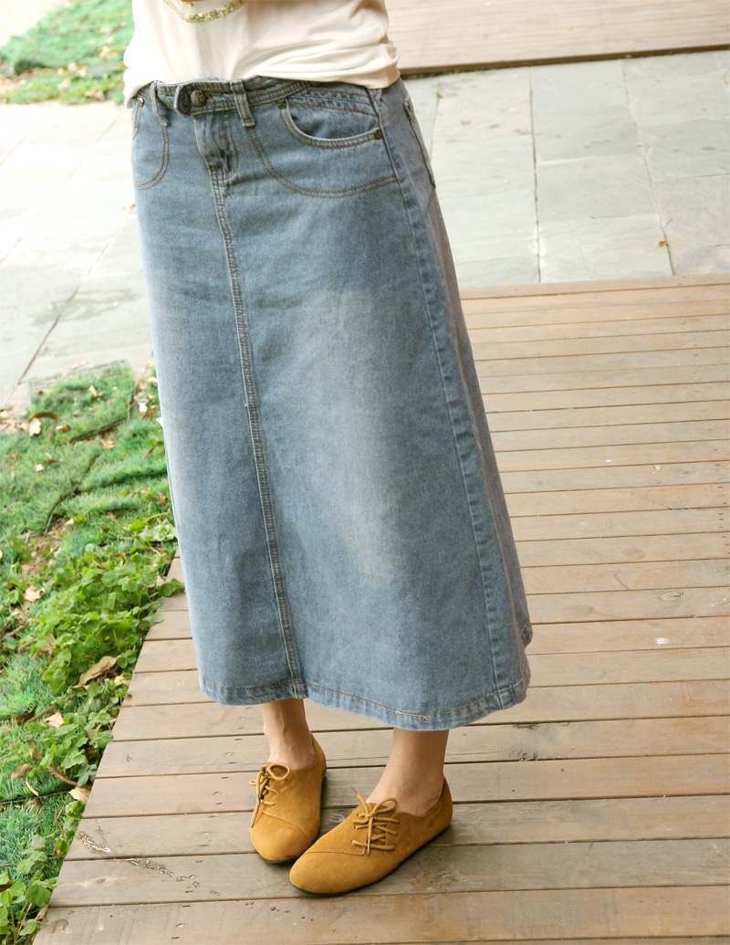 Online Shop Vintage denim skirt female casual a-line skirt ankle ...