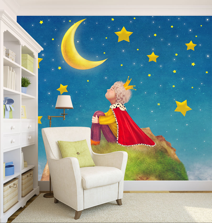 [Self-Adhesive] 3D Little Prince Moon Starry Sky 74 Wall Paper Mural Wall Print Decal Wall Murals