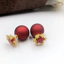 Luxury Gold Snow Red Crystal zircon earrings Famous brand girl/woman's jewelry Lover's Engagement Jewelry Drop Shipping(China)