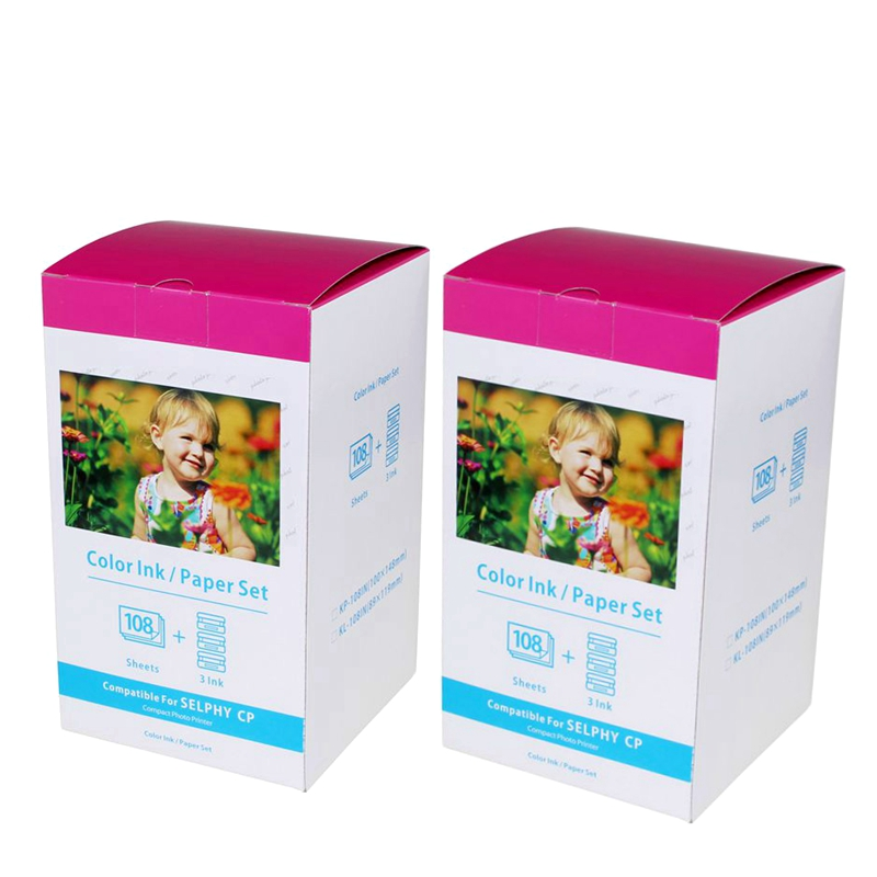 2 Set Photo Paper KP-108IN 108 Sheets 3 Color Ink Cassette Compatible Canon SELPHY CP1300 CP1200 Printer Papers