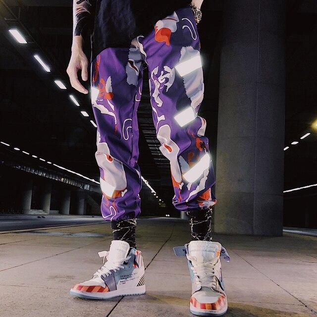 Männer hosen 2020 neue ankunft frühling und herbst hip hop reflektierende streifen männlichen knöchel-länge hosen schwarz lila Koreanischen stil n19