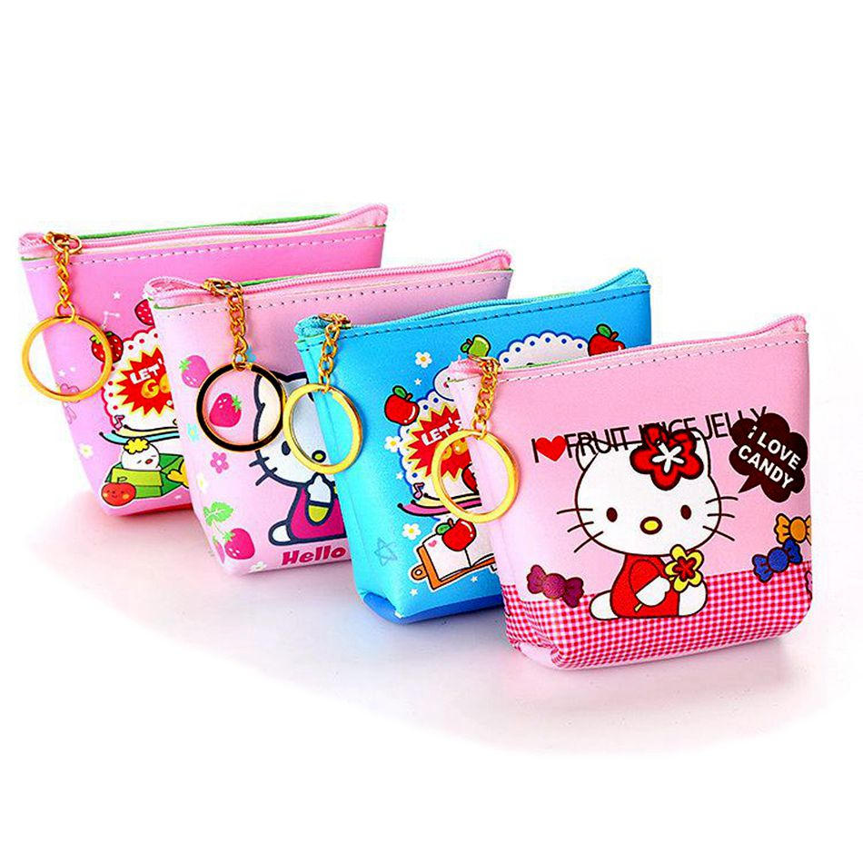 цена на Cute Girl Kids Coin Purses Holder Cartoon Hello Kitty Women Mini Change Wallets Money Bag Coin Bag Children Zipper Pouch Gift