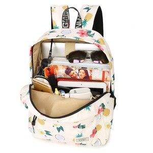 Image 4 - Simple Qualities Comfortable Girl Waterproof Polyester Backpacks Cute Pineapple Printing Female Students Backpack Bag