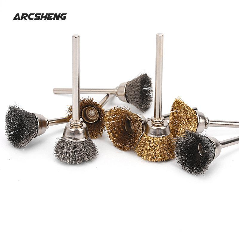 10pcs 16mm Stainless Steel Or Brass Wire Brushes Metal Polishing Brush For Electric Grinder Rotary Tool Dremel Accessories