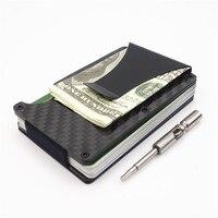 Carbon Fiber Metal Mini Money Clamp RFID Credit Business Card Case Car ID Holder Wallet Clip