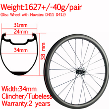 Width 34mm fast light carbon road bike disc wheels 38mm 2 years warranty clincher tubuless gravel wheelset ceramic hub стоимость