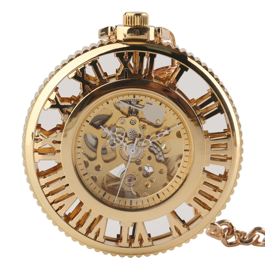Retro Vintage Luxury Golden Hollow Automatic Hand Winding Mechanical Pocket Watch Fashion Fob Watches Gift For Elegant Women