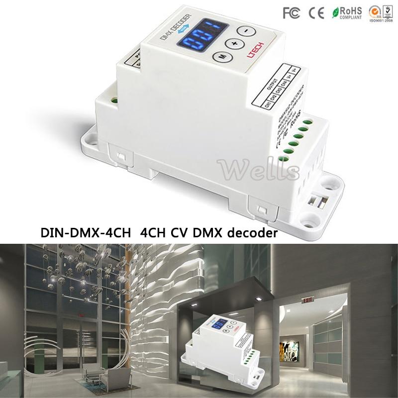 LTECH DIN-DMX-4CH;4CH CV DMX Decoder;DC5-24V input;4A*4CH output led comtroller for led light din dmx 4ch 4ch cv rdm dmx decoder dc5 24v input 4a 4ch output