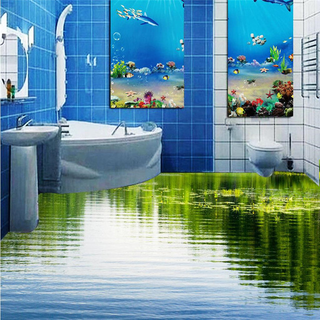 Buy custom floor 3d wallpaper clear lake for Bathroom mural wallpaper