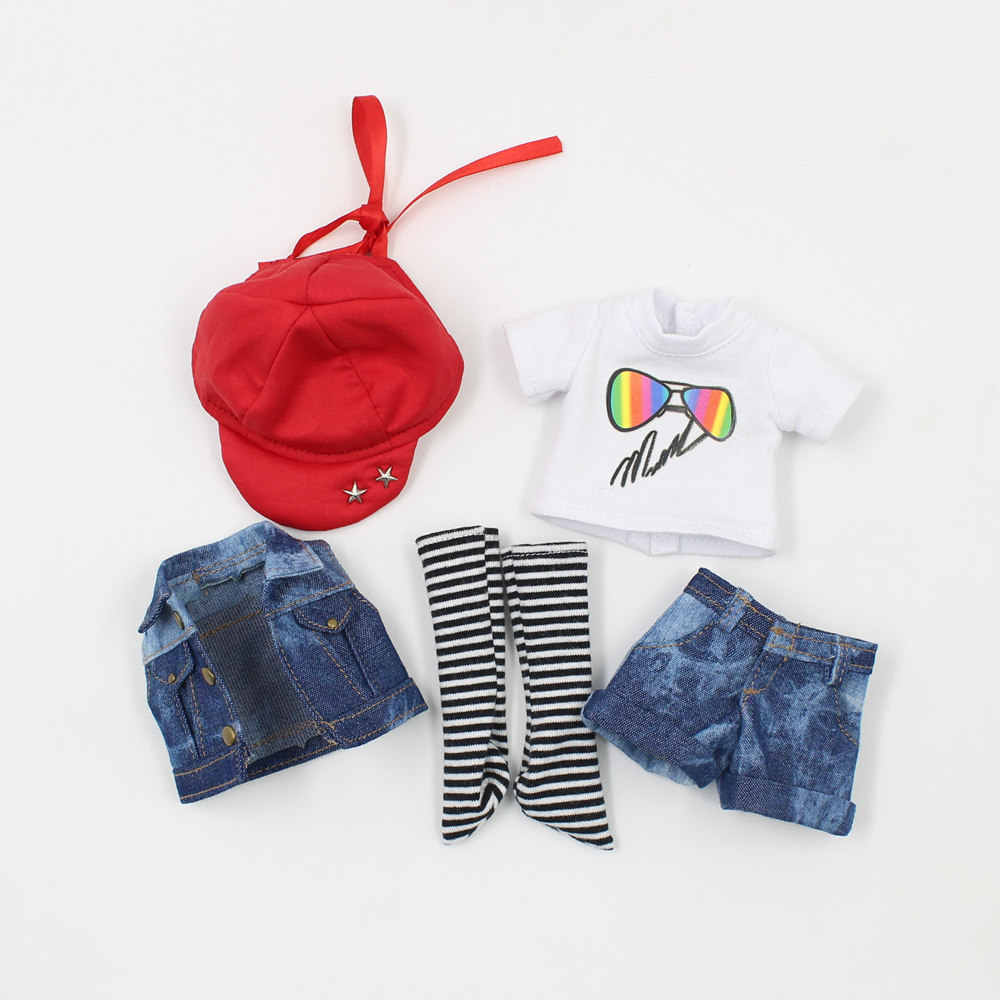 Blyth Doll Accessiories Clothes suitable only for 1/6 BJD Body Jeans Set White Shirt  With Hat  Free Shipping