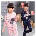 Niñas niños Chándal Conjuntos de Ropa Para Niños Estrella Cielo Dot Tops Harem pantalones de Los Niños Azul Marino Rosa para 4-12 Edades de Hip-Hop Traje de Deporte