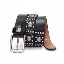 Steampunk de Retro cuero hombres genuino hombre Metal de diseño de GFOHUO remache cuero Rock cinturón marca gótico nuevo cintur IX6npz