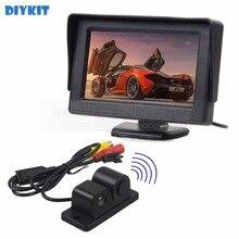 DIYKIT Проводной 4.3 Дюймов Цветной TFT LCD Монитора Автомобиля + Водонепроницаемый парковочный Радар Датчик Парковки Автомобиля Камеры Системы Комплект 2 в 1