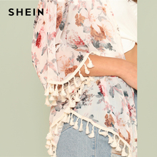 Flower Print Tassel Hem Kimono