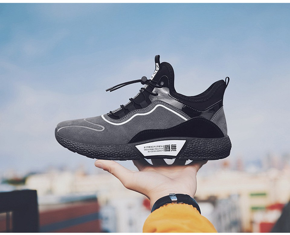 MUMUELI Gray Black Leather 2019 Designer Casual Breathable Shoes Men High Quality Fashion Luxury Ultra Boost Brand Sneakers L771 19