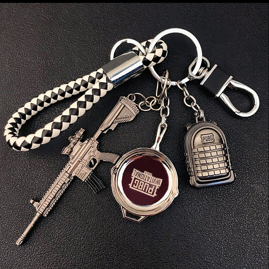 PUBG Products Metal Weapon Model Champion Pot Cool Keychain Pendant Llaveros Chaveiro Online Game Fans Favorite Mens Jewelry