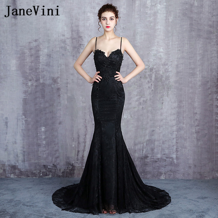 JaneVini Sexy Sisters Prom Dress Black Mermaid Lace Beaded Sequin Women Wedding Party Dress Backless Long Bridesmaids Dresses