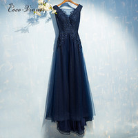 C V 2017 NEW Evening Dress Women Winter Long Design Fashion Short Trailing V Neck Plus