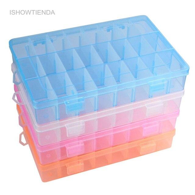 Ishowtienda 1 шт. Регулируемый 24 Отсек прозрачный Пластик коробка для хранения ювелирных изделий серьги чехол мелкие предметы Каха де almacenaje