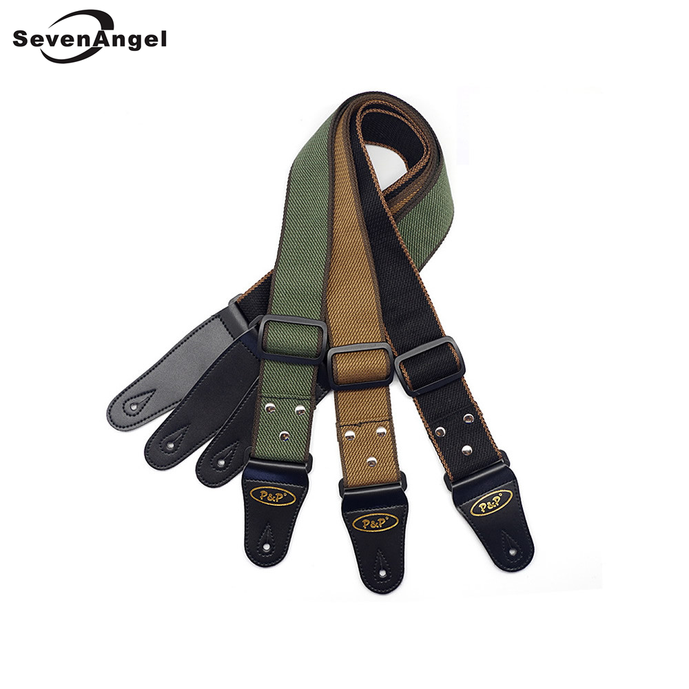 Wholesale Adjustable Guitar Straps 150cm Leather Ends Cotton Straps Belt for Acoustic Folk Electric Bass Guitar zebra cool skull electric guitar belt polyester acoustic folk guitar classic guitar strap for electric acoustic guitar bass