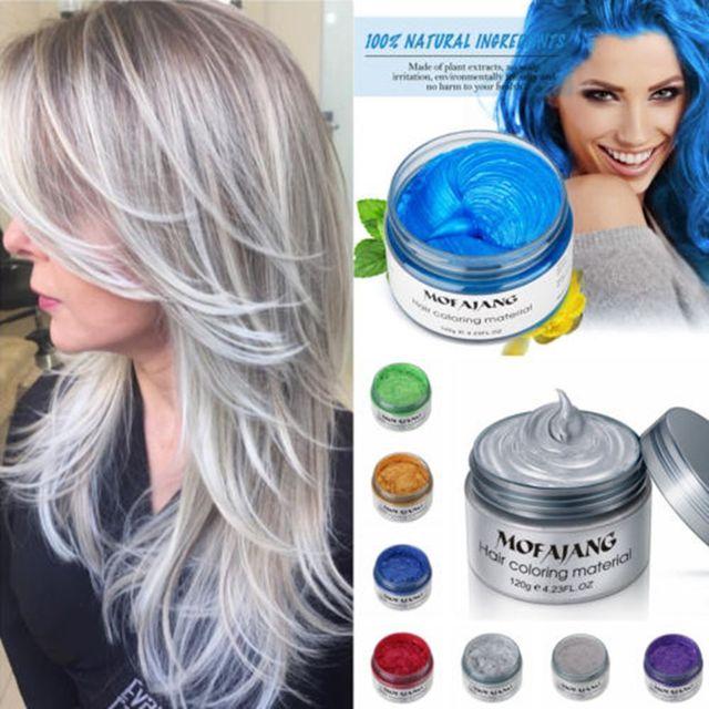 MOFAJANG haar kleur wax haarverf permanente haar kleuren crème unisex sterke hold oma grijs wegwerp pastel dynamische kapsel