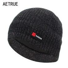 AETRUE зимняя вязаная шапка Мужская зимняя вязаные шапочки зимние, шапки для мужчин и женщин модная маска теплая Балаклава мужская шапка