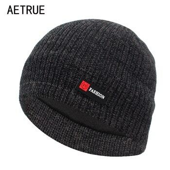 Aetrue зимняя вязаная шапка для мужчин Skullies вязаные шапочки