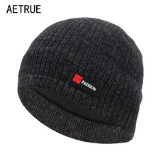 AETRUE Winter Knitted Hat Men Skullies Beanies Winter Hats F