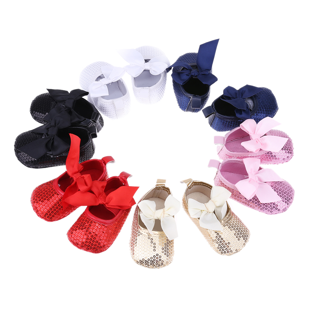 Bling Bling Pu Leather Glitter Baby Girls Shoes New Fashion Red Sequins Baby Bow Moccasins Toddler Soft Sole Princess Boots