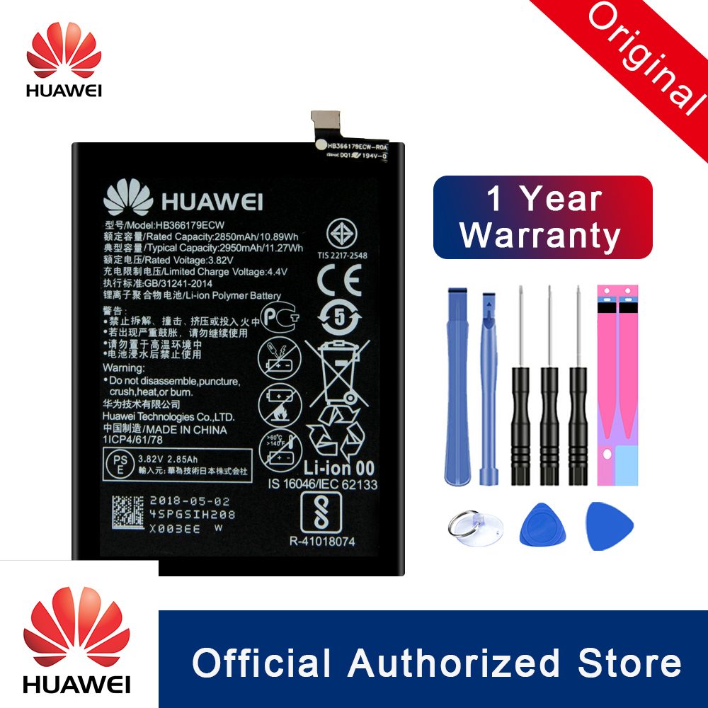 HuaWei 100% Original For Huawei Nova 2 Replacement Phone Battery HB366179ECW CAZ-AL10 CAZ-TL00 Real Capacity Batteria 2950mAh