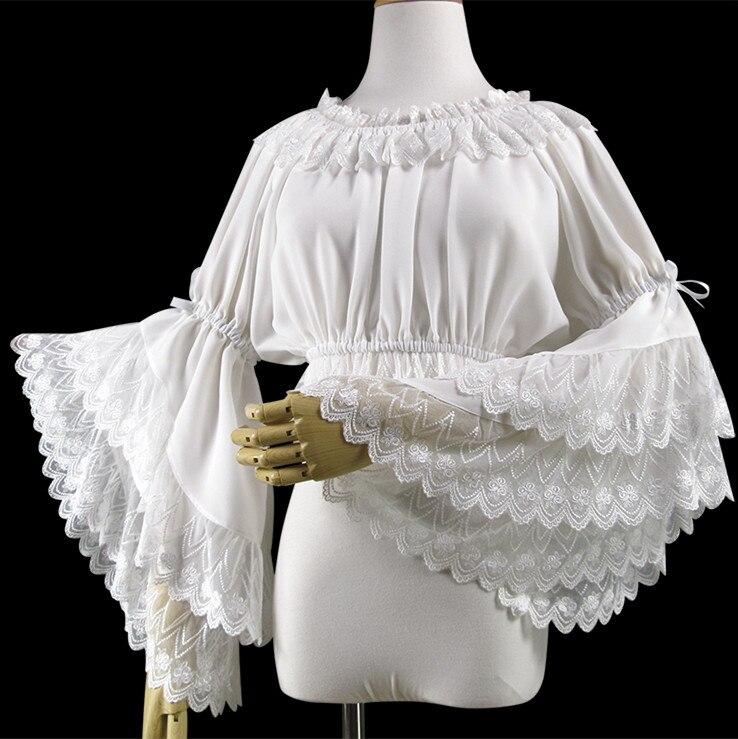Classique Lolita Blouse Dentelle Layered Ruffle mousseline à longues manches haut blanc
