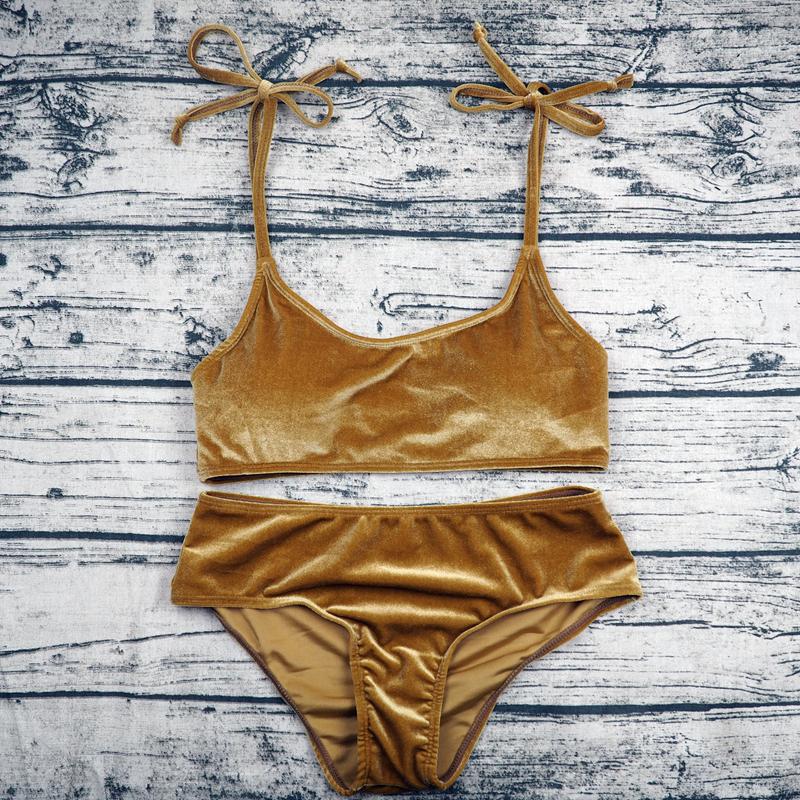 Sexy Brazilian Bikini 17 Blue Velvet Swimwear Women Swimsuit Push up Biquini Halter Bikinis Set Bathing Suit Maillot De Bain 16