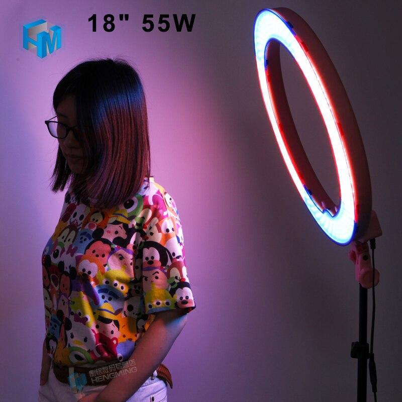 """18 """"55W Video LED Stmívatelný kroužek nepřetržitého světla s difuzorem napájecí adaptér oranžový filtr pro fotografické studio"""