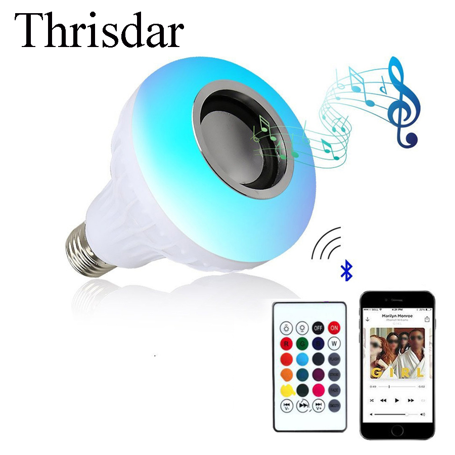 Thrisdar 12W E27 RGB Led Bulb Bluetooth Speaker Bulbs Music Playing Dimmable LED Bulbs Lamp Light with 24 Keys Remote Control led rgb bulb lamp app remote control e27 speaker bluetooth 4 0 music led night light