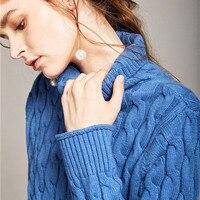 Alta-gola torção camisola mulheres outono e inverno solto versão Coreana do suéter de cashmere camisa conjuntos