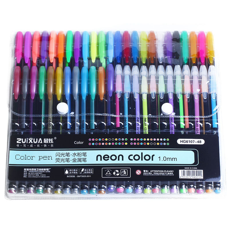 Zuixuan 48 canetas de gel conjunto canetas de gel de cor glitter canetas metálicas bom presente para colorir, crianças, esboçar, pintura, desenho