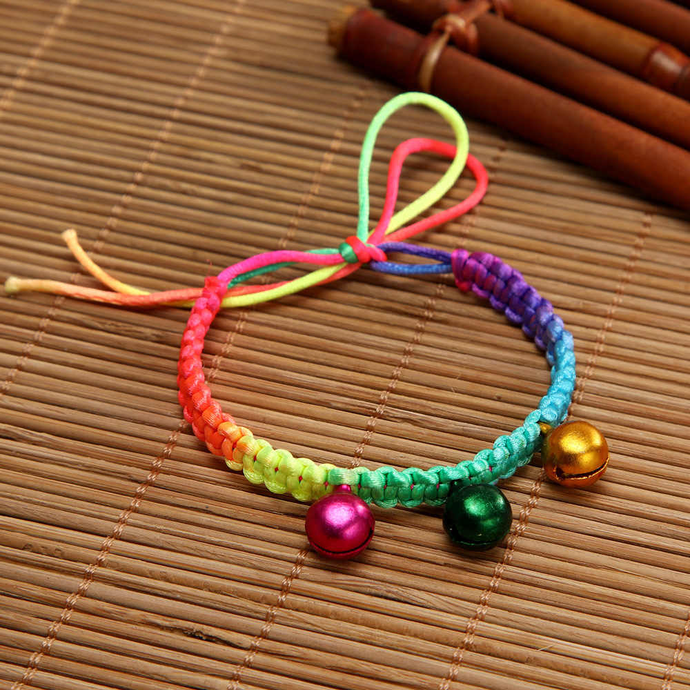 Simple and Stylish Creative Small Bell Pendant Lucky Color Rope Bracelet Handmade Bangle Amulet Jewelry for Children and Adults