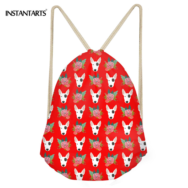 INSTANTARTS Hot Sale Women Drawstring Bag 3D French Bulldog Print Women Casual Travel Bag Fitness Yoga Shoes Backpack Cinch Sack