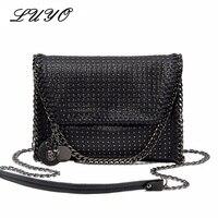 Luyo Black Lady Messenger Classic Rivet Purse Skull Decrative Women Shoulder Leather Small Crossbody Handbag Bag