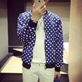 In the autumn of 2016 new men's coat thin jacket slim polka dot print casual jacket casual fashion youth