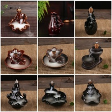 Ceramic Burner Fragrance Lotus Holder Censer Aromatherapy Smoke Backflow Stick
