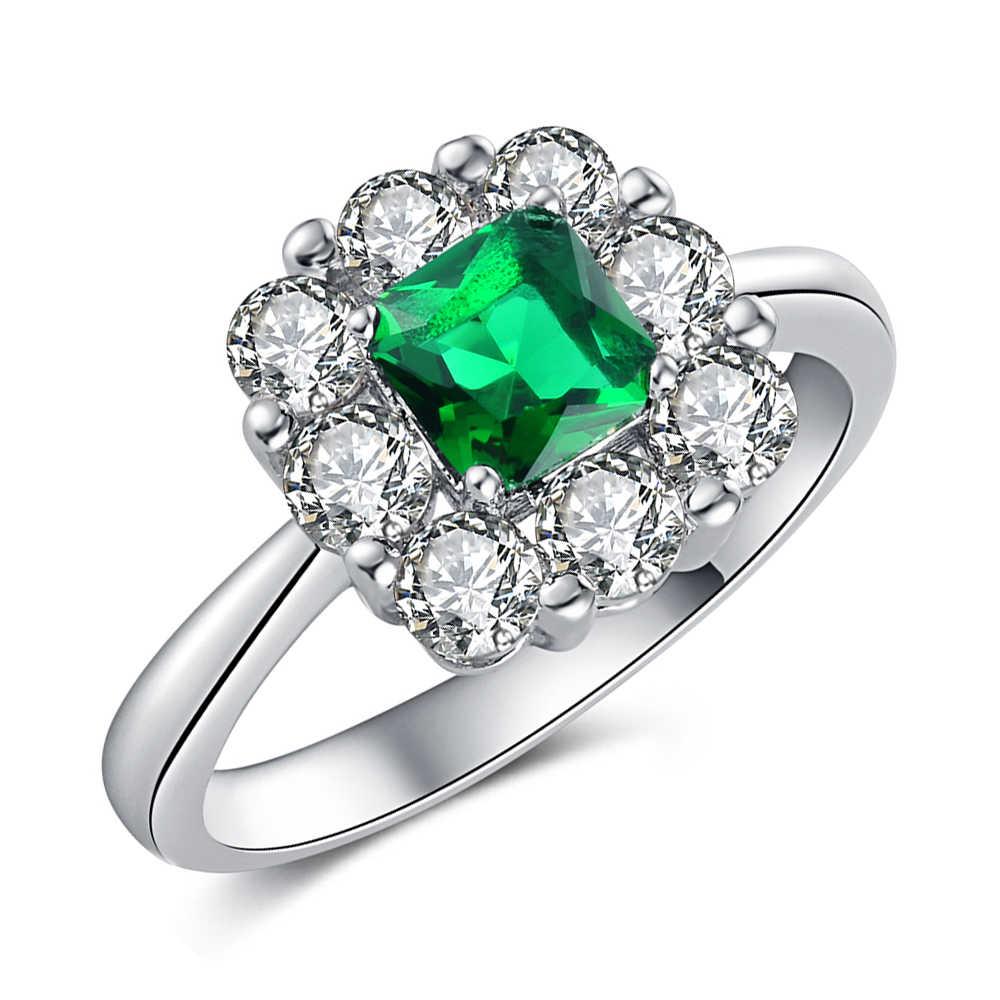 PANSYSEN 2019, новая мода, серебро 925, ювелирное изделие, изумруд, кольца для женщин, драгоценный камень, обручальное кольцо, опт, подарки, размер 6-10