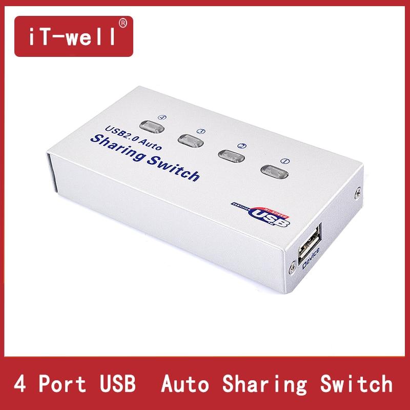 iT-well USB Hub Auto USB Switch 4 puertos USB splitter para computadora PC compartiendo Imprima 4 computadoras para compartir 1 dispositivo USB